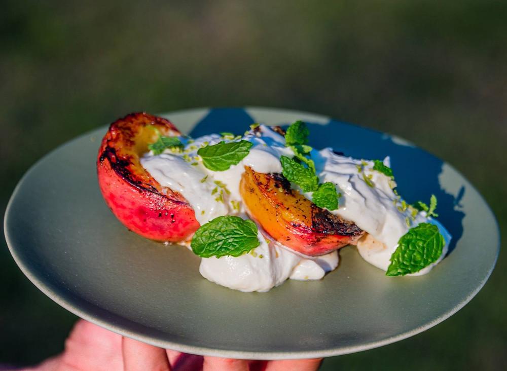 grilyje keptų vaisių desertas, Bernardas Anužis, receptas