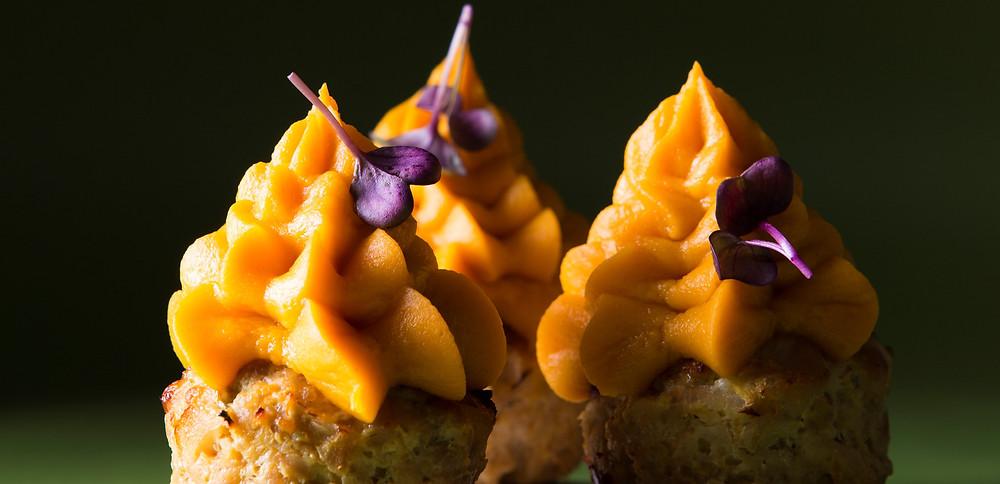 Triušienos keksiukai su batatų kepurėlėmis, vmg receptas