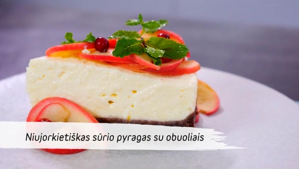 Niujorkietiškas sūrio pyragas su obuoliais, vmg receptas