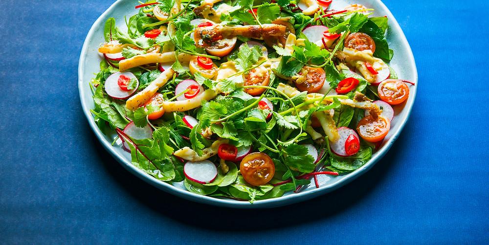 Kalmarų salotos su miso majonezu, vmg receptas
