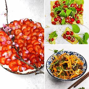 ALFAS VIENAS NAMUOSE receptai: kiniškos salotos, tartaletė su daržovėmis, pyragas su braškėmis