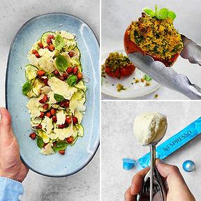 ALFAS VIENAS NAMUOSE receptai: įdaryti pomidorai, šviežių cukinijų karpačas, naminiai kavos ledai