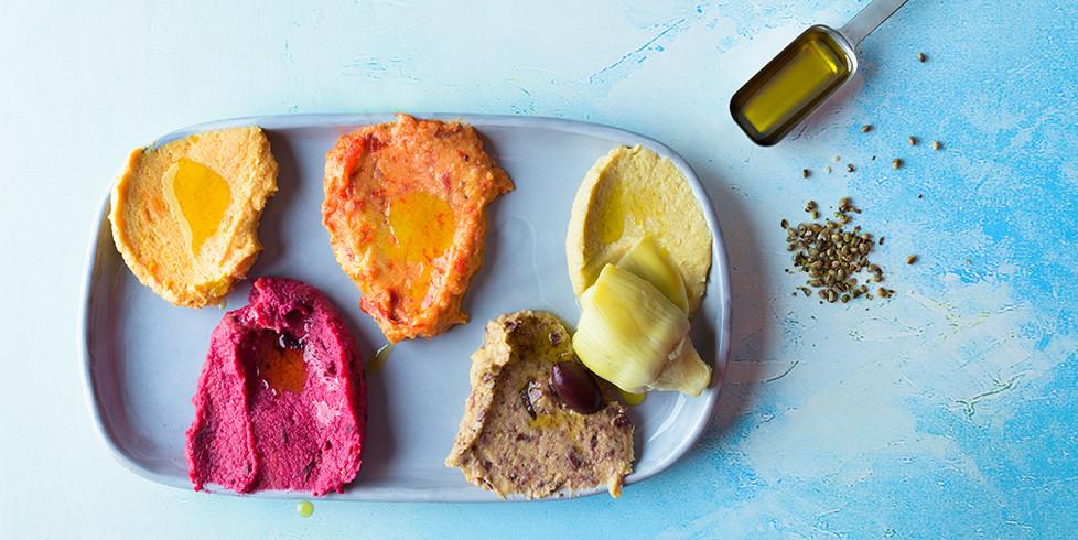 Humusas su keptais batatais, vmg receptas