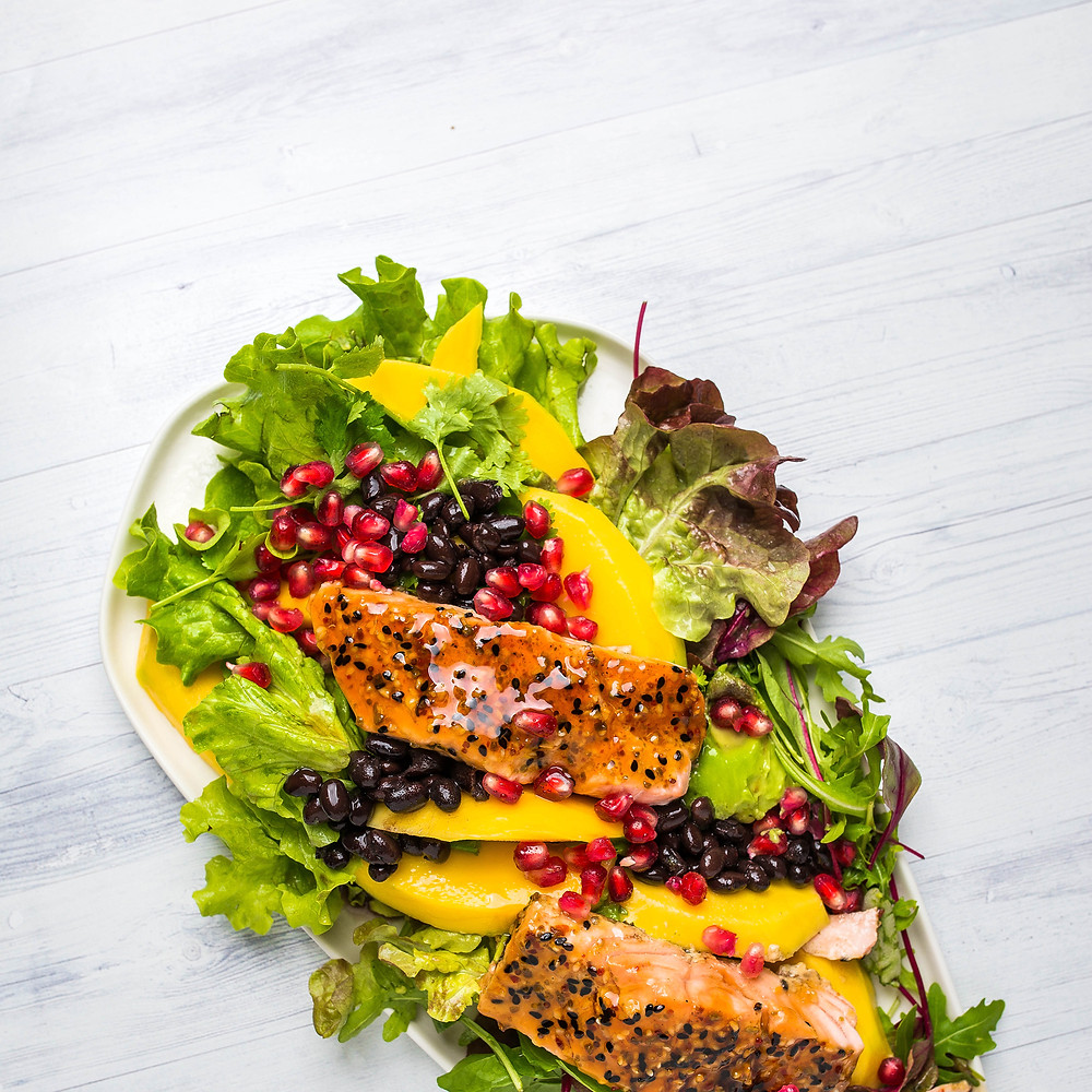 Karštos salotos su terijakio padažu ir lašiša, vmg receptas