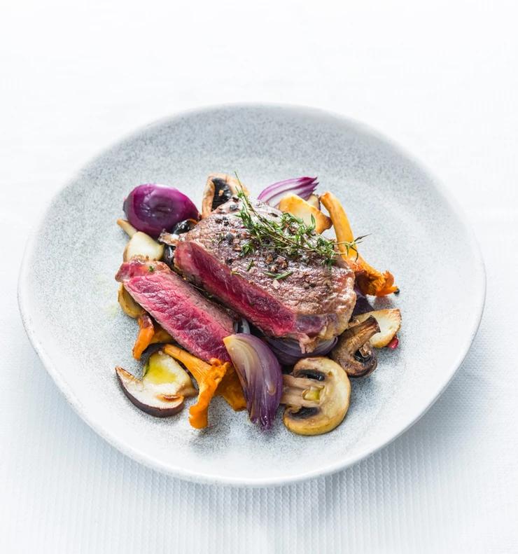 steikas, kepsnys su grybais, Alfo Ivanausko receptas