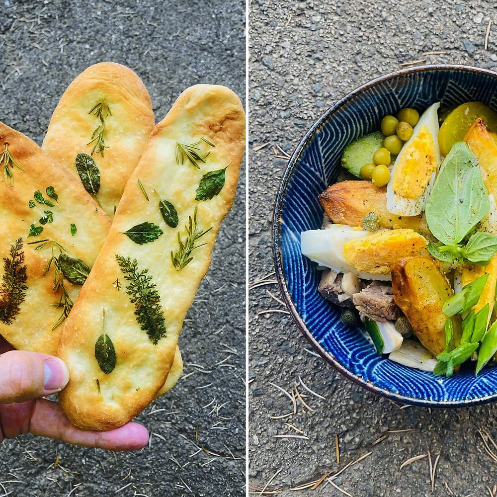 vasarinė balta mišrainė ir traški užkandinė duonelė, Alfo Ivanausko receptai