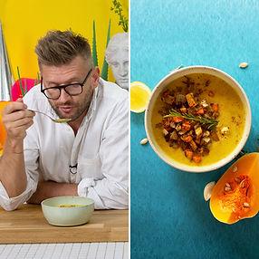 Greita, kepta moliūgų ir sūrio sriuba (Receptas)