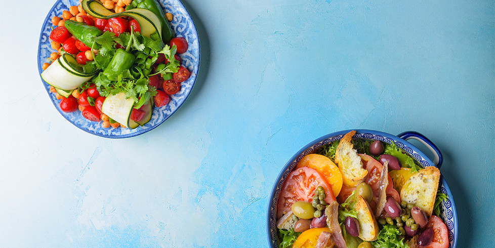 Pikantiškų avinžirnių ir pomidorų salotos, vmg receptas