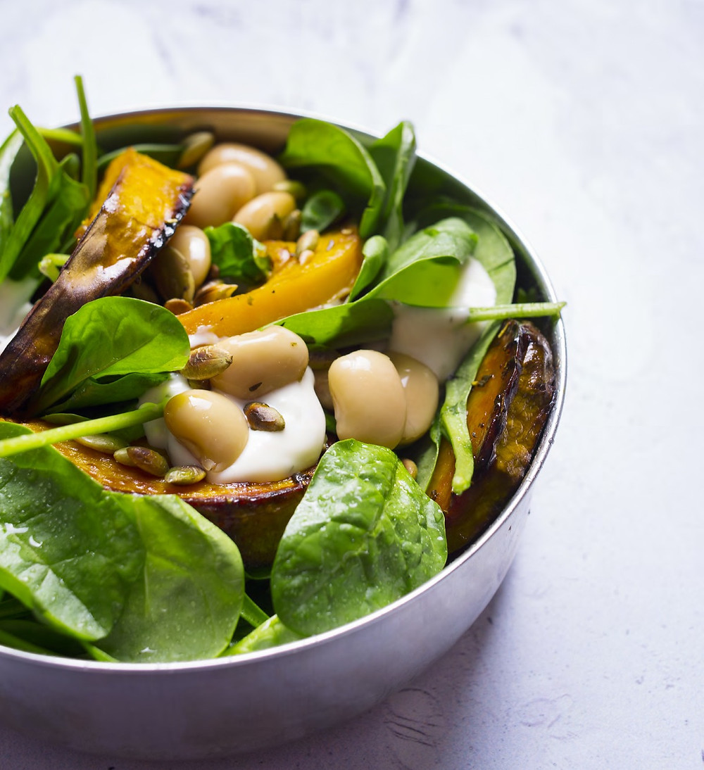 moliūgų salotos su pupelėmis ir špinatais, Alfo Ivanausko receptas