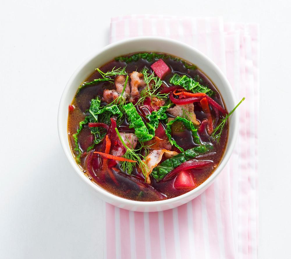 burokėlių sriuba su kriaušėmis ir šonine, VMGonline.lt