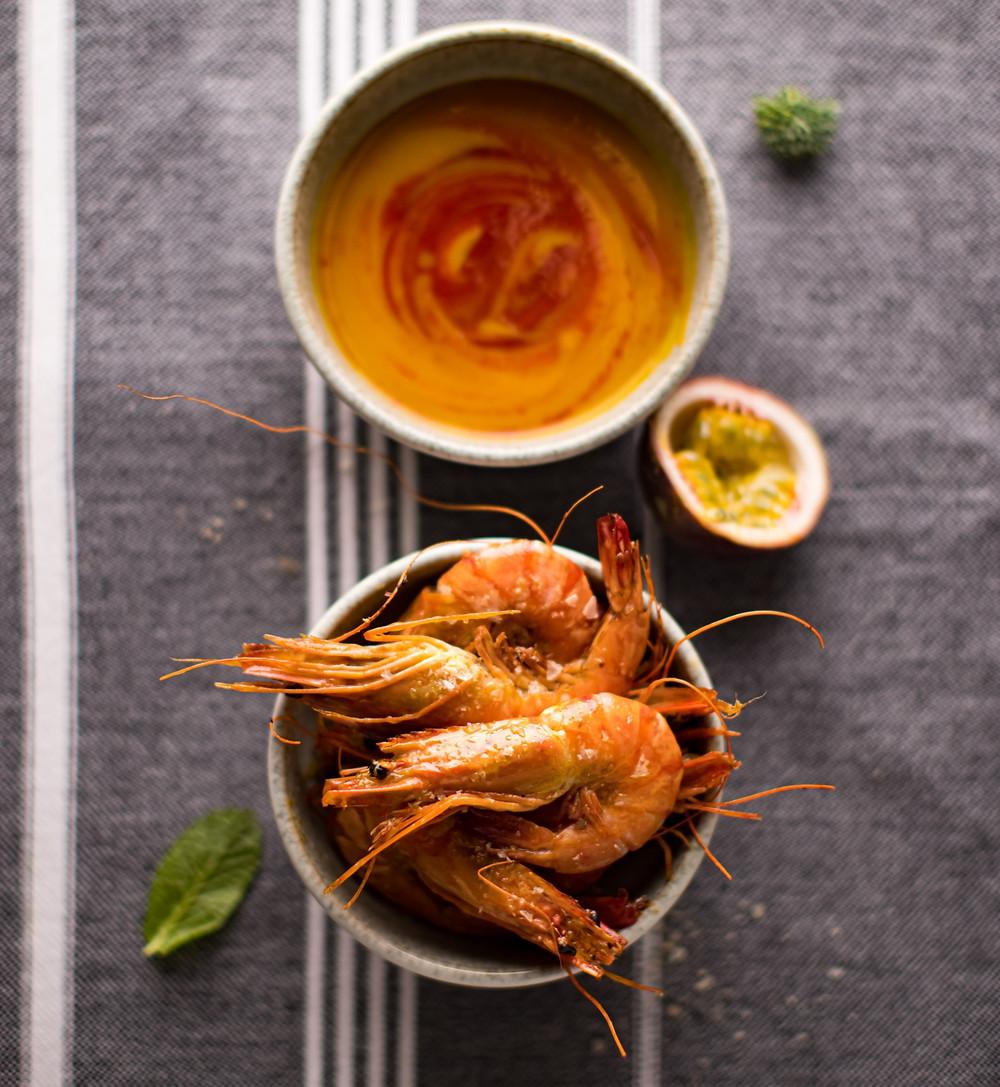 Krevetės su tropinių vaisių padažu, Alfo receptas, Alfas vienas namuose, Kalėdos, Kūčių patiekalai