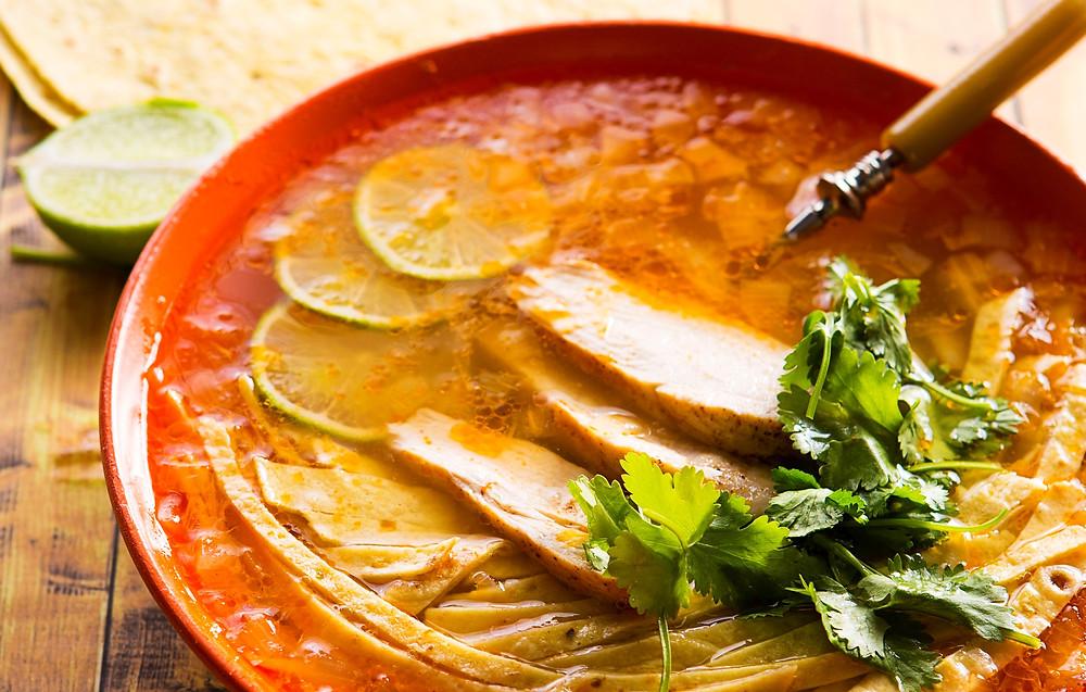 Sopa de lima (citrininė sriuba), vmg receptas