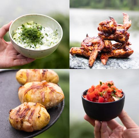 VIENAS GAMTOJE receptai: sparneliai su barbekiu glazūra, keptos bulvės su šonine, paprikų salotos