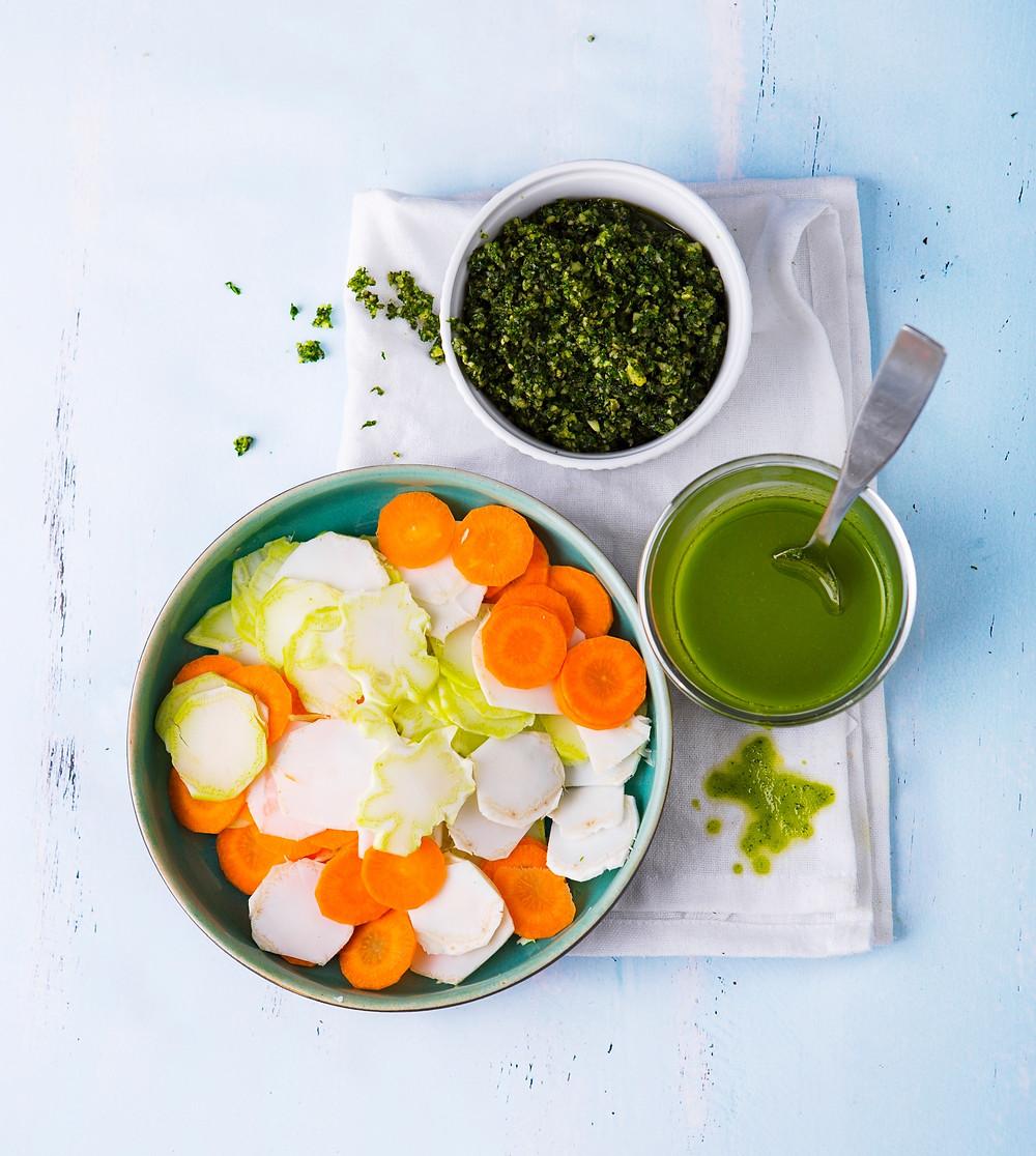 pesto padažas, salotos, žaliasis aliejus. Alfo receptai