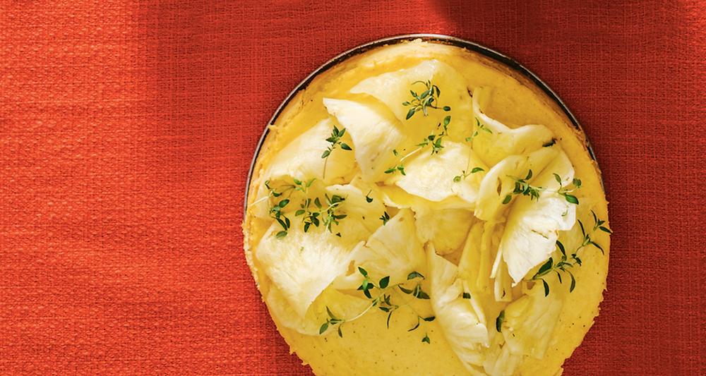 Sūrio pyragas su moliūgais ir ananasais, vmg receptas