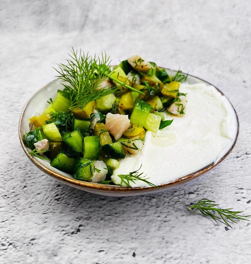 gaivios silkės salotos su agurkais, Alfo receptas