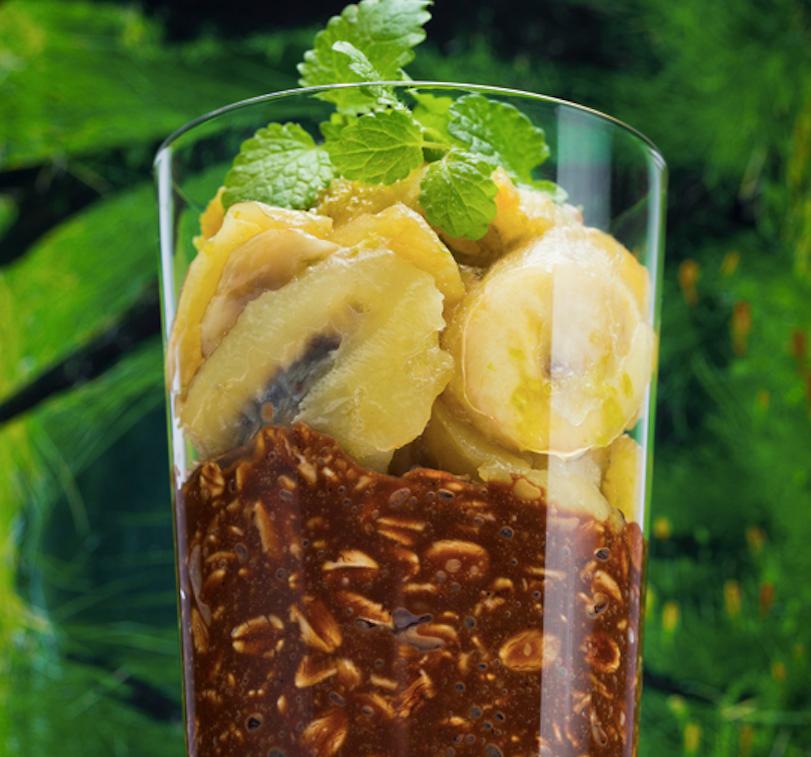 Avižų desertas su keptais bananais ir ledais, vmg receptas