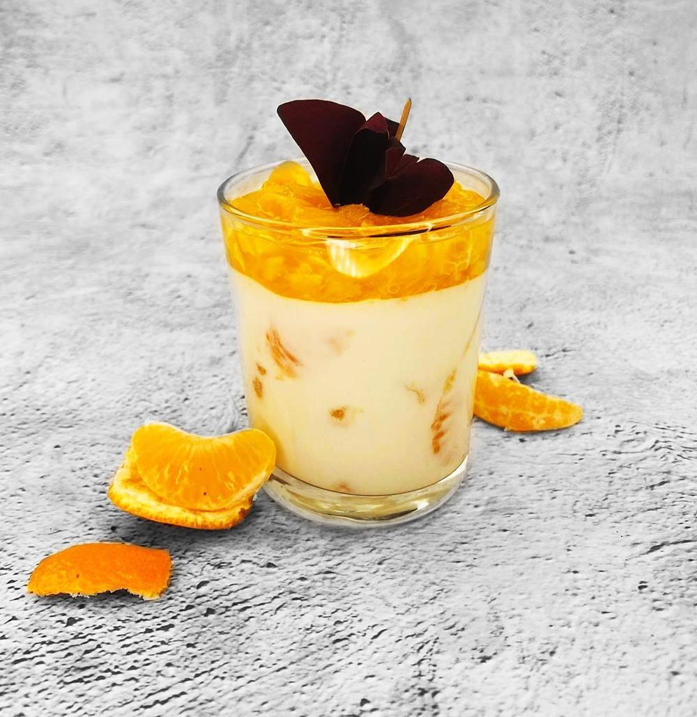 Kokosų desertas su mandarinais, šaldytas desertas, Alfo receptai