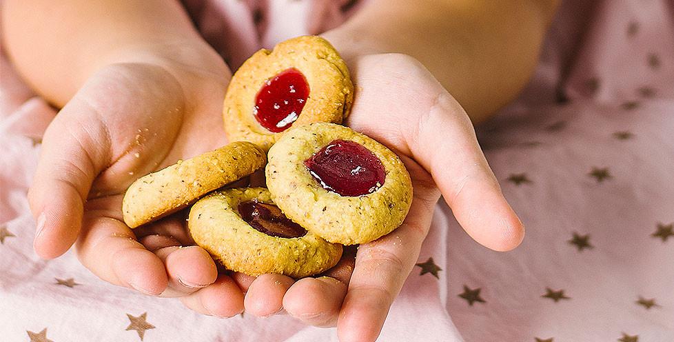 Riešutiniai sausainiai su džemu, vmg receptas