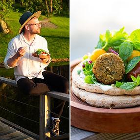 ALFAS VIENAS GAMTOJE receptas: užkandis su falafeliais ir pomidorais