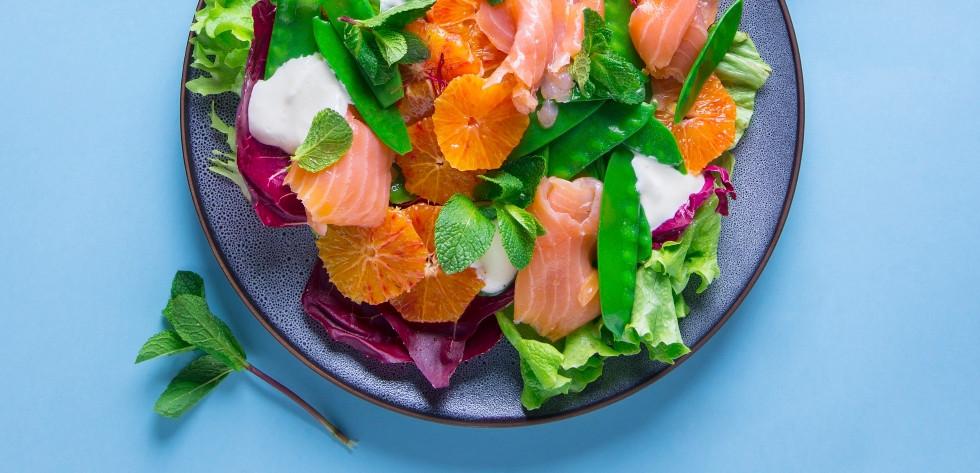 Lašišos salotos su apelsinais, vmg receptas