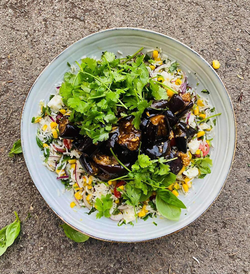 keptų baklažanų salotos su ryžiais ir feta, grilio patiekalai, Alfo Ivanausko receptas