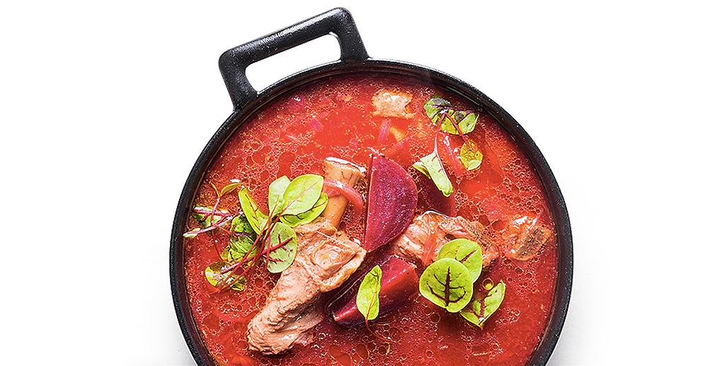 Burokėlių sriuba su antiena ir džiovintais grybais, vmg receptas