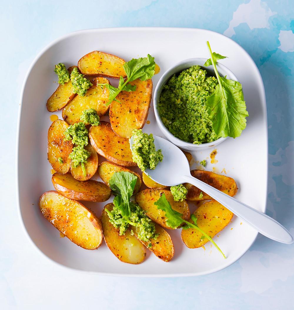 orkaitėje keptos bulvės su pesto padažu, Alfo receptai