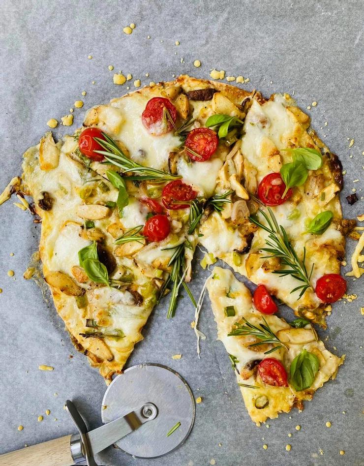 greita dvislkuoksnė pica su grybais, Alfo Ivanausko receptas