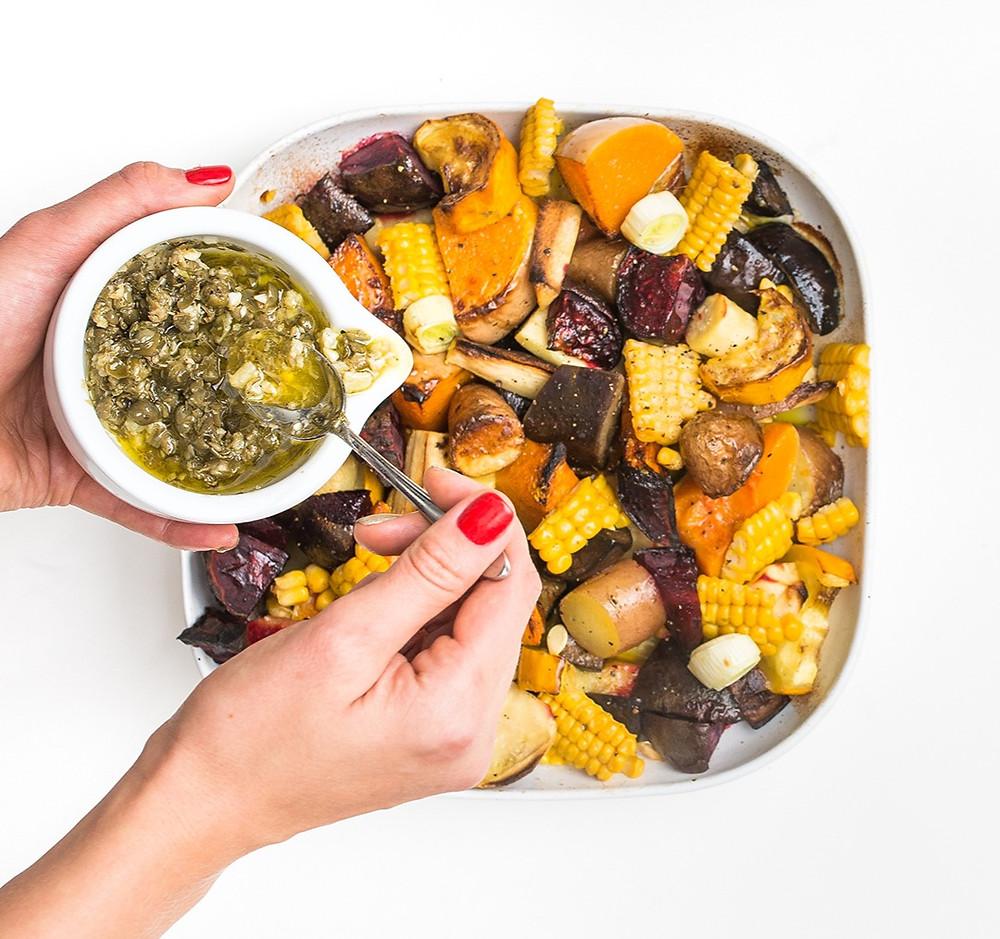 šiltos sezoninių daržovių salotos, Alfo receptas