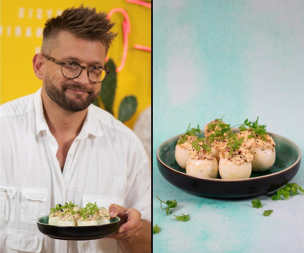 Alfas Ivanauskas, receptai, įdaryti kiaušiniai.