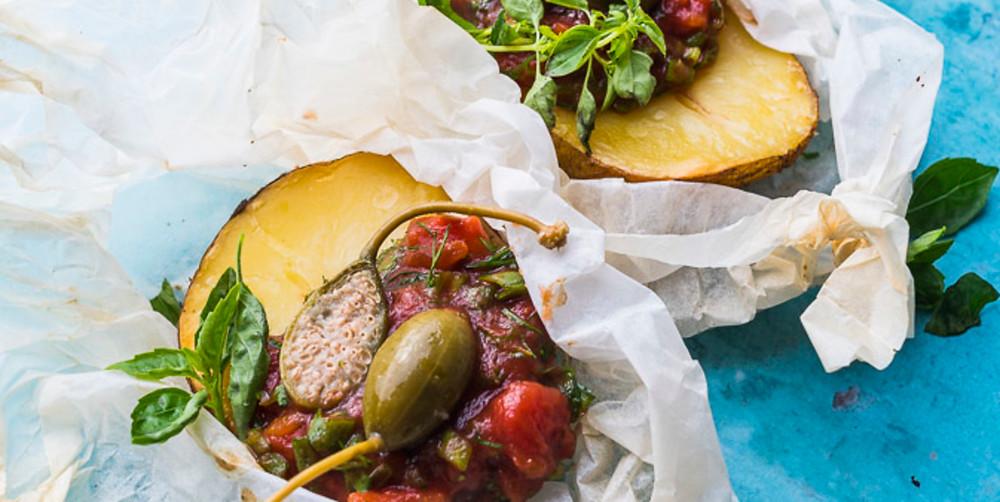 Bulvės su lupena iš orkaitės popieriniame vokelyje, vmg receptas