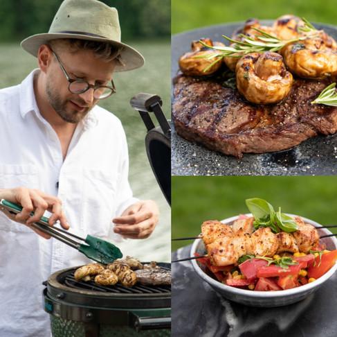 """VIENAS GAMTOJE receptai: salotos su vištienos iešmeliais, """"steikas"""" su marinuotais grybais"""
