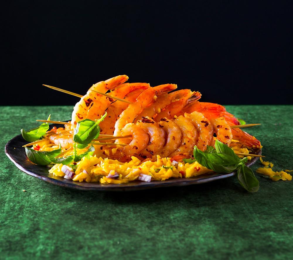 Krevečių iešmelių vėduoklės, mangų salsa, Alfo receptas