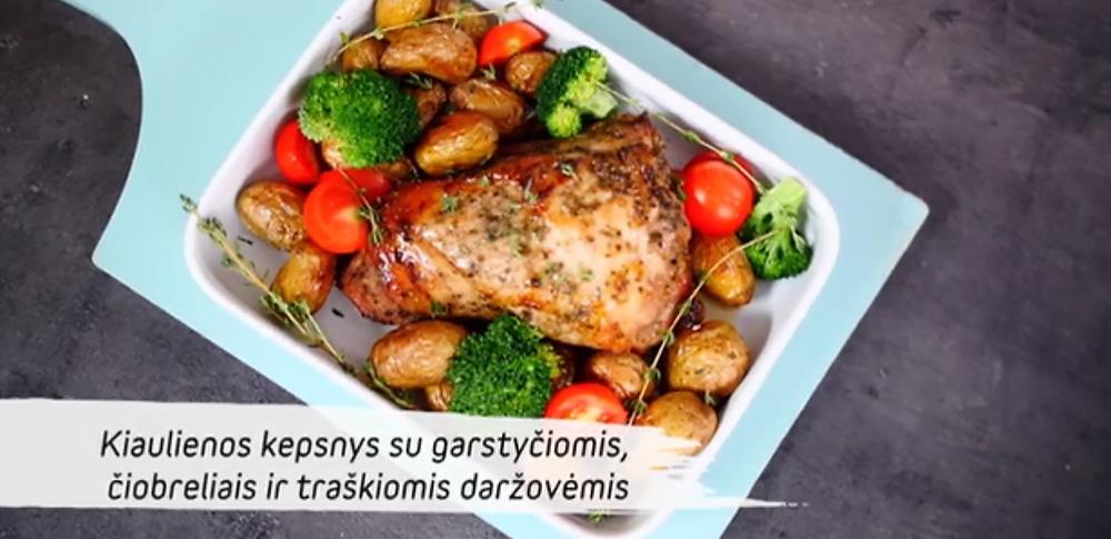 Kiaulienos kepsnys su garstyčiomis, čiobreliais ir traškiomis daržovėmis, vmg receptas