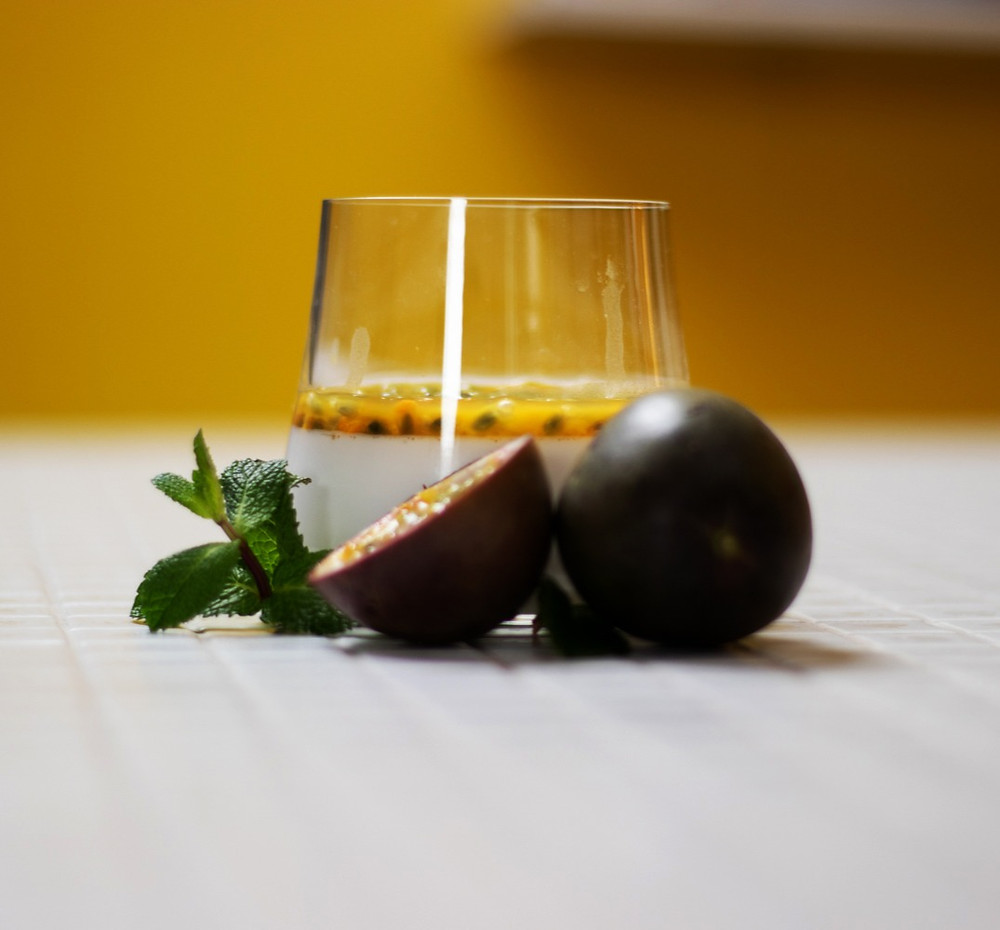 panakota, kokosų pienas, pasiforos, Alfo receptai