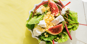 Sorų salotos su figomis ir ožkos sūriu, vmg receptas