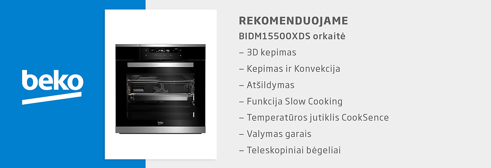 Beko orkaitė BIDM15500XDS, vmg receptai