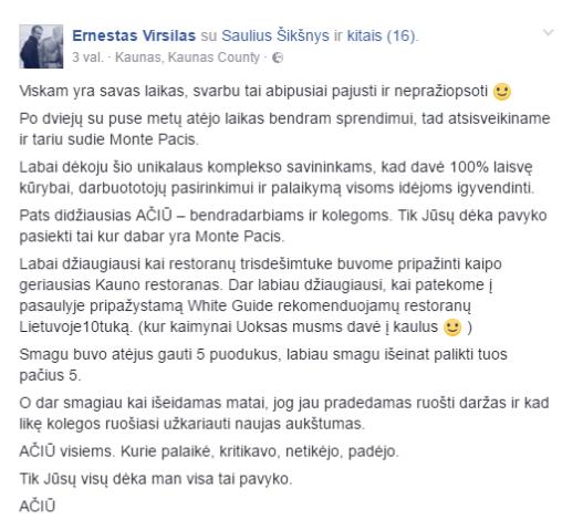 """Ernestas Viršilas skandalinga žinia pasidalijo savo """"Facebook"""" paskyroje"""