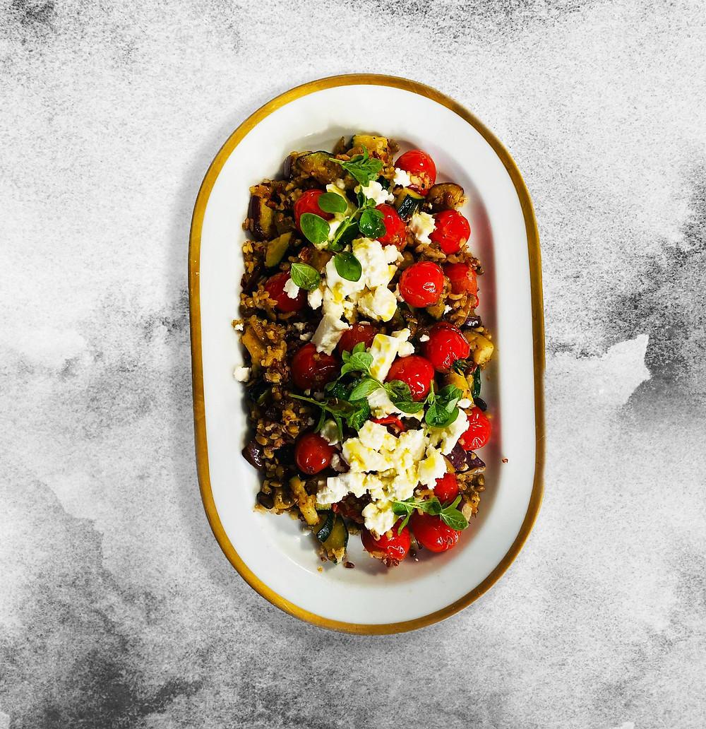 daržovių salotos su sėklomis ir fetos sūriu, fetos sūris, baklažanai, Alfo receptai