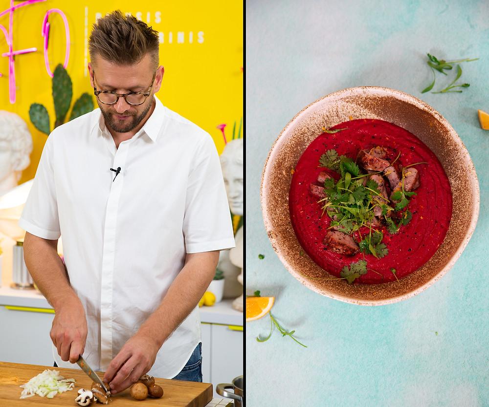 Burokėlių sriuba, Alfas Ivanauskas, sriuba su paukštienaa