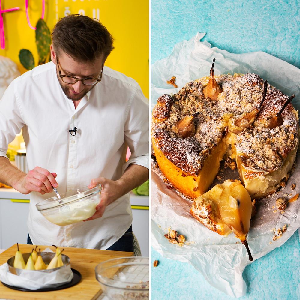 Alfo receptas, varškės pyragas su kriaušėmis