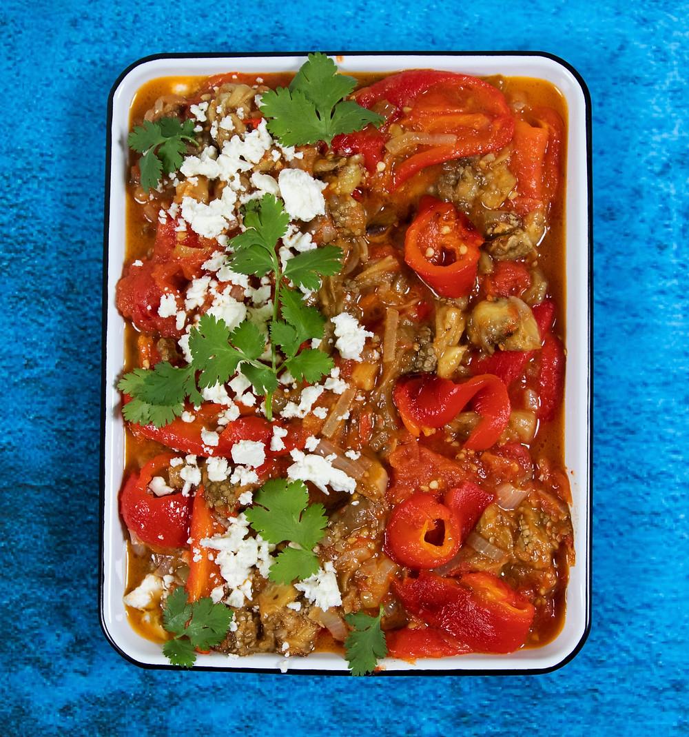 Kaukazietiškas daržovių troškinys,  Skonio iššūkis, Dovilė Filmanavičiūtė, receptas, greita vakarienė, troškinys su baklažais, receptas