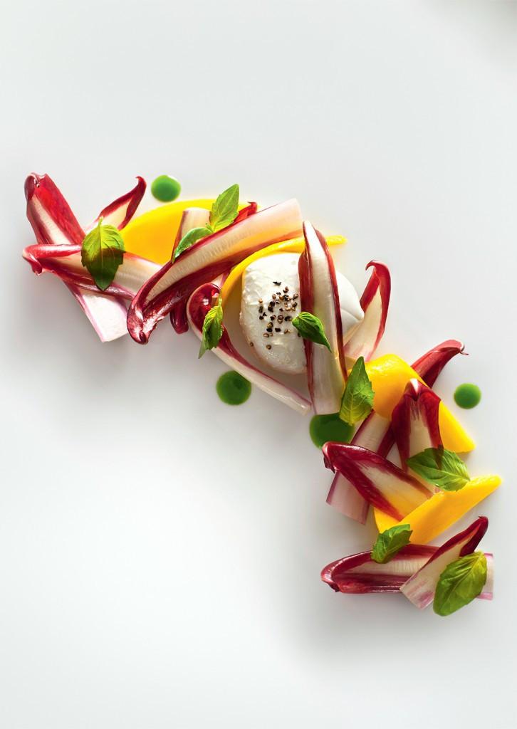 Raudonlapės gūžinės salotos su mocarela, mango ir baziliku (Francesco Tonelli nuotr.)