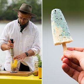 ALFAS VIENAS GAMTOJE receptas: traškūs mėlynių ir mangų ledai ant pagaliuko
