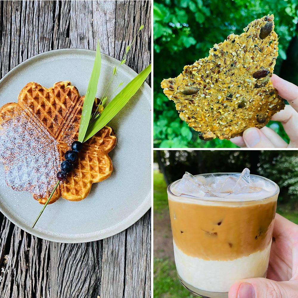 Alfo Ivanausko receptai, traški duonelė, kokosinių ledų vafliai, ledų ir kavos desertas
