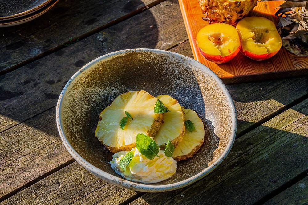 grilinti ananasai, receptas
