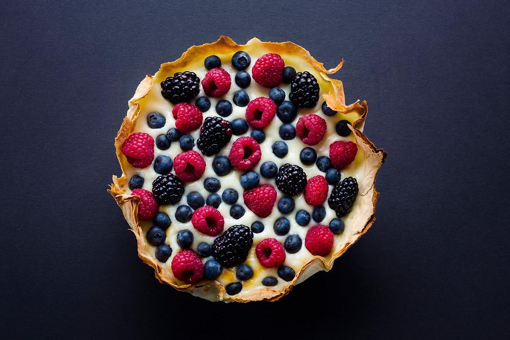 Uogų desertas, vmg receptas
