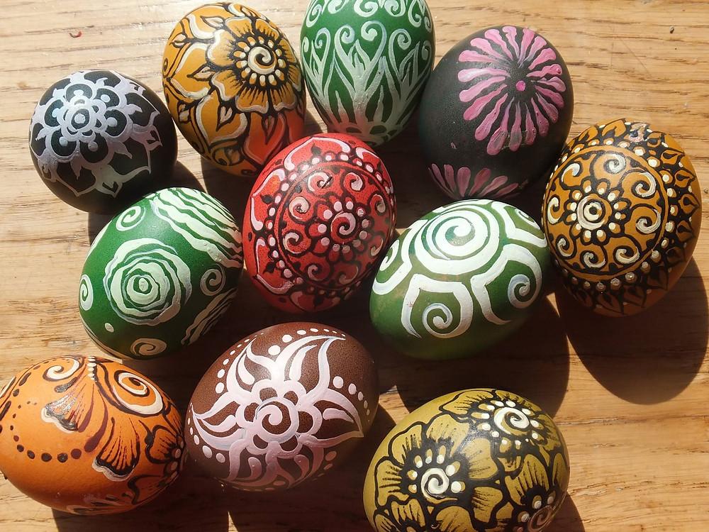 Alesandros puošti kiaušiniai (Alesandros Gaušienės nuotr.)