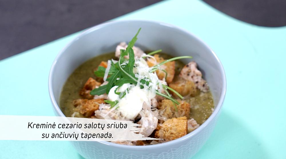 Cezario salotų sriuba su ančiuvių tapenada, vmg receptas